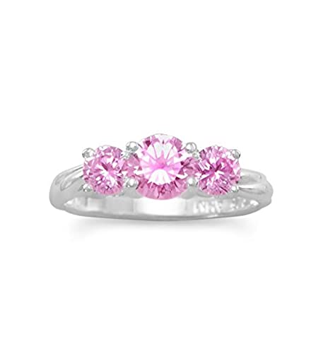 Three Stone Pink Cubic Zirconia Ring Sizes 4-10 Sterling Silver, 5 - 3 Stone Four Prong Ring
