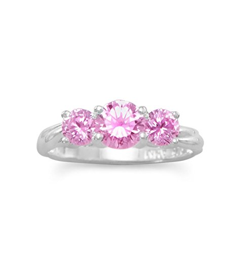 Three Stone Pink Cubic Zirconia Ring Sizes 4-10 Sterling Silver