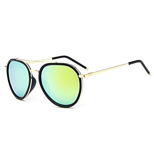 Z-P Unisex Retro Fashion Wayfarer Color Film Round Lens Reflective - Sunglasses What Face Round A Suit Type Of