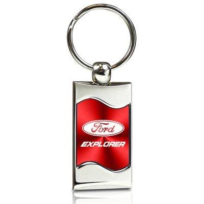 INC Au-Tomotive Gold Ford Explorer Red Spun Brushed Metal Key Chain