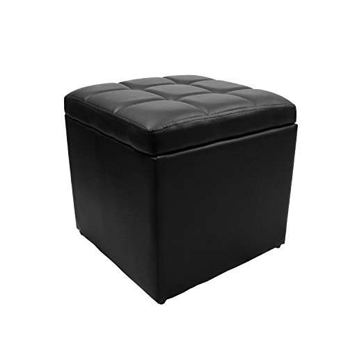 Magshion* Faux-Leather Coffee Table Square Ottoman Legs up UNFOLD Black