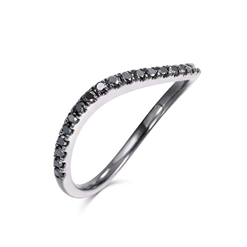 18K Gold 0.167 Carat Black Diamonds Fashion Ring (black-diamond, 7)