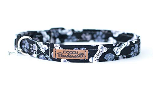 Bones Dog Collar Pattern Male Dog Collar Adjustable Black Dog Collar Cool Classic Dog Collar Geek Boy Dog Collar XSmall/Small/Medium/Large/XLarge size