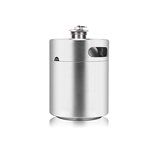 Lamtor G003-2L 64 Ounce Mini Keg Style Growler Stainless Steel Barrel Holds Beer Double Handles, Silver, 2L