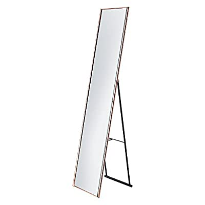 "Adesso WK2444-20 Alice Floor Mirror, Copper Finish - Satin steel 59""H x 13.5""W Open depth: 14.5"" - mirrors-bedroom-decor, bedroom-decor, bedroom - 31FkrnG2BUL. SS400  -"