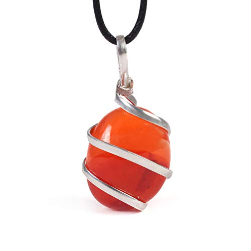 Raw Tumbled Carnelian Crystal Healing Pendant Necklace - for Motivation Strength Leadership Endurance Inspiration Courage - Authentic Stone on Silver Plated Chain Real Gemstone Chakra Healing Charm (Best Stones For Sacral Chakra)
