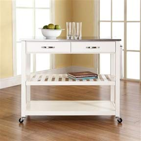 CHOOSEandBUY Stainless Steel Top Kitchen Cart Island in White on Casters Cart Kitchen Storage Rolling Island