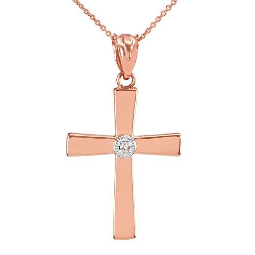 Collier Femme Pendentif 14 Ct Or Rose Croix avec Diamant (Livré avec une 45cm Chaîne)
