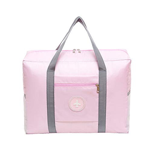 Price comparison product image YJYdada Travelled Folding Luggage Thickened Waterproof Oxford Cloth Hand Picked Bag Roun (Pink)