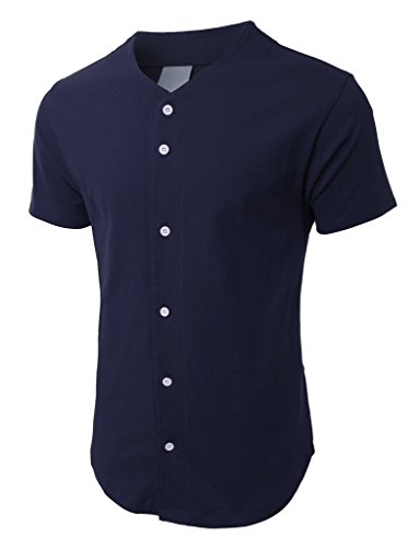 Mens Baseball Button Down Jersey Hipster Hip Hop T Shirts 1UPA01 (X-Large, Navy)