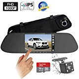 "Mirror Dash Cam Backup Camera - 5"" Touch Screen 1080P Rearview Front and Rear Dual Lens with Waterproof Reversing Camera by Plsky (16G Card Included)"