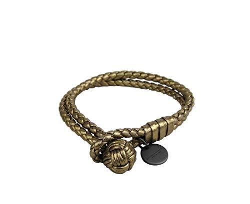 Bottega Veneta Women's Gold Metallic Braided Leather Bracelet 113546 7715
