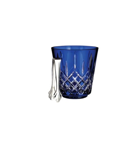 - Waterford Crystal Lismore Cobalt Ice Bucket with Tongs