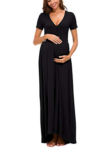 Octohol Women's Wrap Maternity Dress Short Sleeve Casual Long Maxi Dress(Black Medium)