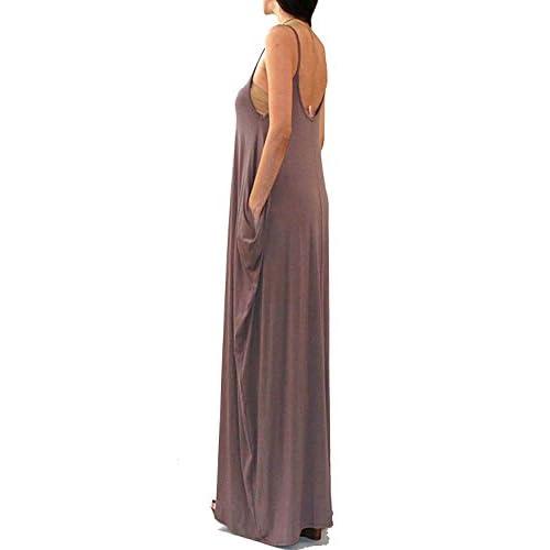 da53b4dea7 best Vivicastle Batwing Oversized Loose Plain Summer Sleeveless Pocket Long  Maxi Dress