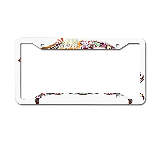 Koperororo Embellished Crab Fish with Ethnic Ornate Lines Ocean Animal Cancer Illustration Universal License Plate Frame Auto Truck Car Front Tag 4 Holes Plate Frame Cover - Fish Ornate Butterfly