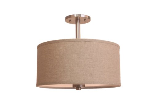 (Woodbridge Lighting 13435STN-S11501 3-Light Single Shade Satin Nickel Semi-Flush Mount, Beige, 15