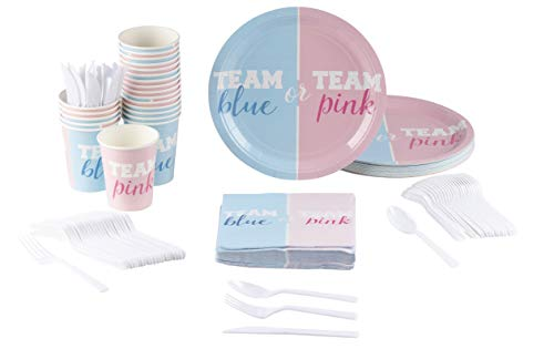 Gender Reveal Party Supplies - Serves 24 - Includes Plastic Knives, Spoons, Forks, Paper Plates, Napkins, and Cups, Perfect Party Pack for Announcement Parties and Baby Showers, Blue and Pink