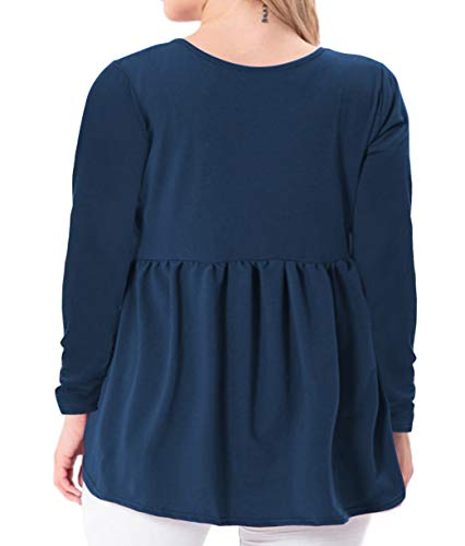 YASAKO Women's Plus Size Button Down Shirts Notch Henley V Neck Long Sleeve Pleated Flowy Blouses Casual Tunic Tops (Blue, 2X-Large)