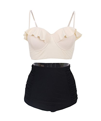 Vintage High Waist Floral Women's Bikini Set Strappy Push Up-X030-BgTBKB4, Black/Beige XL