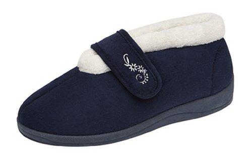 Mujer Dunlop Deloris Forro Polar Corte Ancho Pantuflas Con Velcro Azul Marino