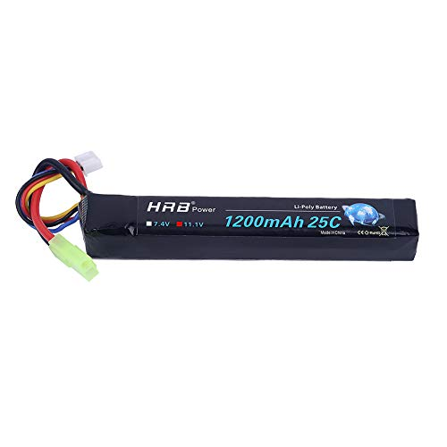 (HRB 3S 1200mah 11.1V RC Lipo Airsoft Battery 25C for Mini Airsoft Gun AEG AK47, MP5k, MP5 PDW, RPK, PKM)