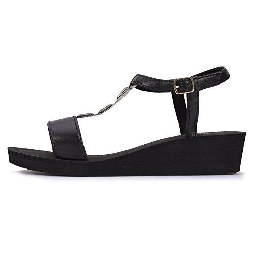 Sandalias con tacón para mujer Isotoner Negro