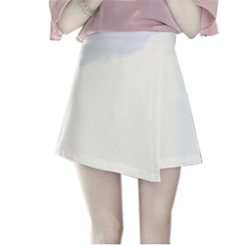 Aoliait Femme Jupe A-Line Amincissante Jupe Court Couleur Unie Femelle Jupe en t Grande Taille Jupe Mini Taille Haute Jupe White1