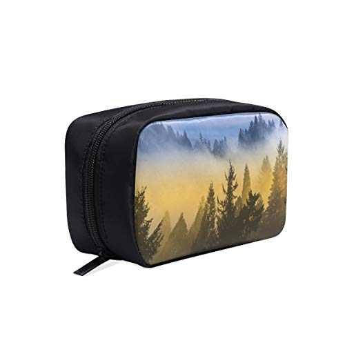 Valley With Fog And Sunrise Portable Travel Makeup Cosmetic Bags Organizer Multifunction Case Small Toiletry Bags For Women And Men Brushes Case