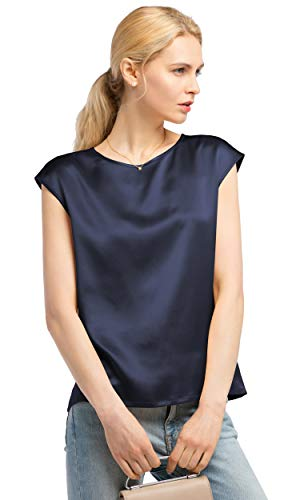 LilySil Silk Blouse for Women Short Sleeve Summer Cool Comfy Charmeuse Silk Tops for Ladies Navy Blue L/12