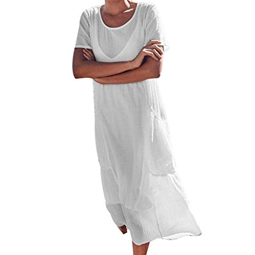 (Pengy Cotton Dress,Women's Dress Pure Color Short Sleeve Cotton and Linen Dress Sandy Beach Dress with Pockets White)