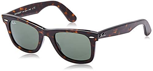 Ray-Ban RB2140 Original Wayfarer Sunglasses, Tortoise/Green, 50 mm (Ray Ban Wayfarer Green)