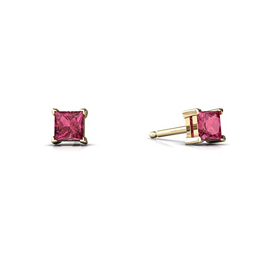 14kt Yellow Gold Pink Tourmaline 3mm Square Princess Cut Stud (Princess Tourmaline Earrings)