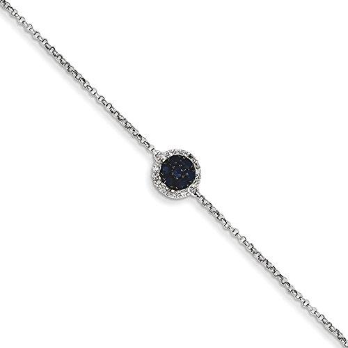 Or blanc 14carats Saphir et Diamant brut avec cercle et .5cm ext. Bracelet