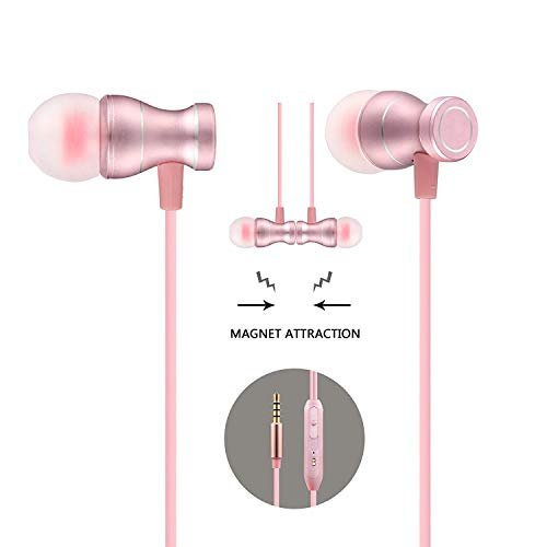 in-Ear Earbuds Headphones, Bambud Magnetic Wired Earphones Stereo Bass Noise Cancelling Ear Buds Headsets with Microphone and Volume Control for All 3.5mm Jack Phones