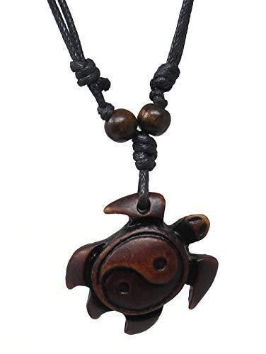 Turtle Necklace - Yin Yang Turtle Necklace - Turtle Pendant - Yin Yang Pendant - Light Brown