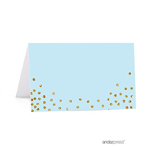 (Andaz Press Light Blue Gold Glitter Boy's 1st Birthday Party Collection, Printable Table Tent Place Cards, 20-Pack, For Dessert Table Candy Buffet, Baby Boy's Baptism, Christening, Confirmation)