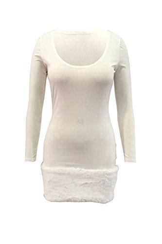 Bodycon Solido La Casual Patchwork Vestido Peludos Slim Mujer Cuadrado Cuello blanco Mini r88nwOqI5