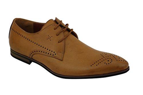 Xposed - Zapatos de cordones de piel sintética para hombre Marrón canela 2wotZsc