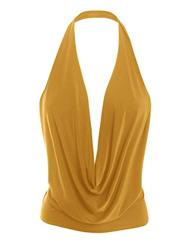 LE3NO Womens Lightweight Sexy Low Cut Halter Top with Stretch Mustard