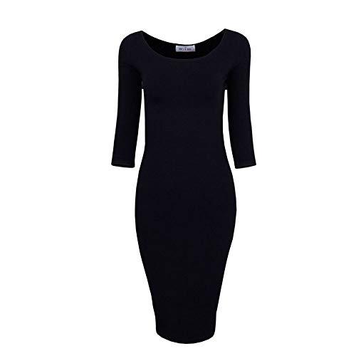 O Solid Abito Tight Dress Neck Dresses Knit Black In Qwdxs Women Winter Maglia 8txdffH