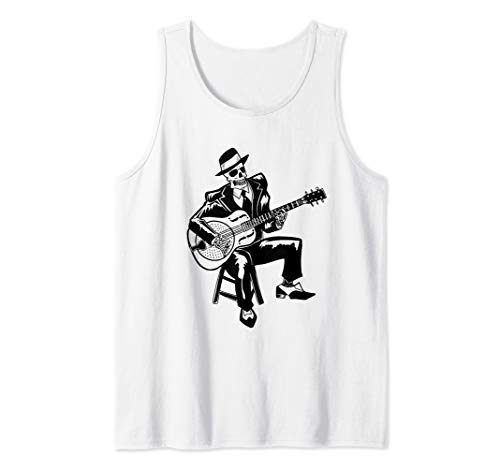 Blues Music Shirts for Men : Skeleton Bluesman