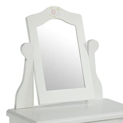 Olivia's Little World - Princess Vanity Doll Table and Chair Set with Rotatable Mirror ,Wooden 18 inch Doll Furniture, White: Toys & Games