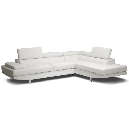 Gallery White Leather L Shaped Sofa: Amazon.com: Baxton Studio Selma Leather Modern Sectional