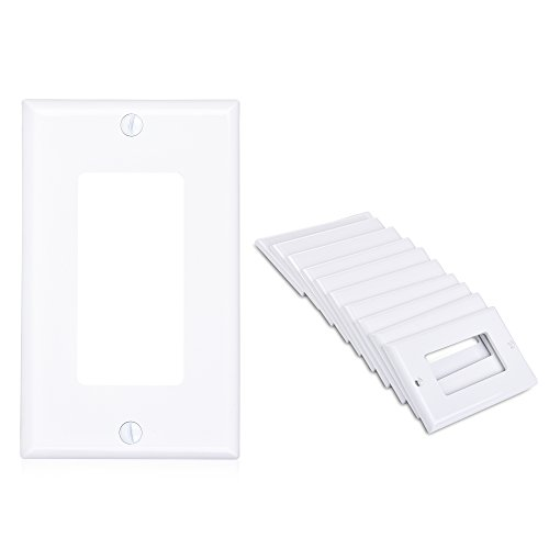 Cable Matters (10-Pack) Single Gang Wall Plate Cover for Decora Device in White (Plate Renovation Cover)