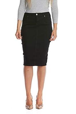 Esteez Women's Denim Pencil Skirt - Stretch Jeans -Tummy Control - Miami