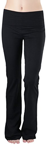 Fold Over Yoga Pants Black - ToBeInStyle Women's Premium Fold Over Yoga Flare Pants - Black - Small