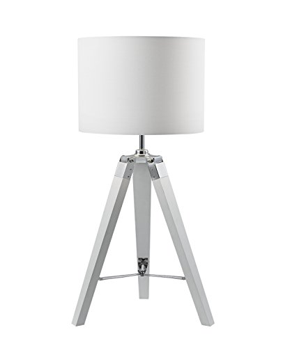 Euro Style Collection ESCTL-OSSA-WHT Wood Legs and Fabric Shade Tripod Table Lamp, 30'' H ()