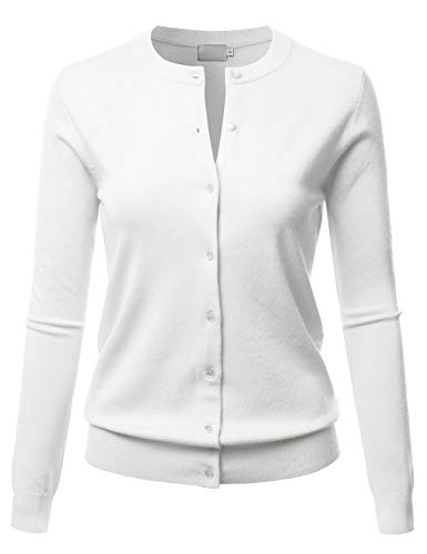 LALABEE Women's Crew Neck Gem Button Long Sleeve Soft Knit Cardigan Sweater White S