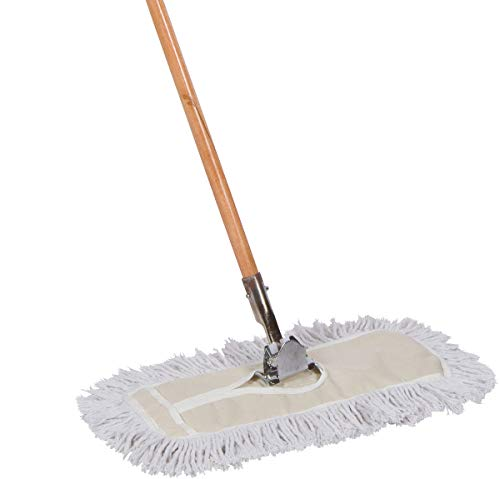 Tidy Tools 18 inch Cotton Dust Mop with Solid Wood Handle and Metal Frame. 18'' X 5'' Wide Mop Head with Cut Ends - Hardwood Floor Broom